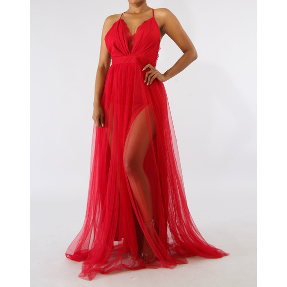 3d2f0929de3 Womens Red Mesh Tulle Double Slit Maxi Dress